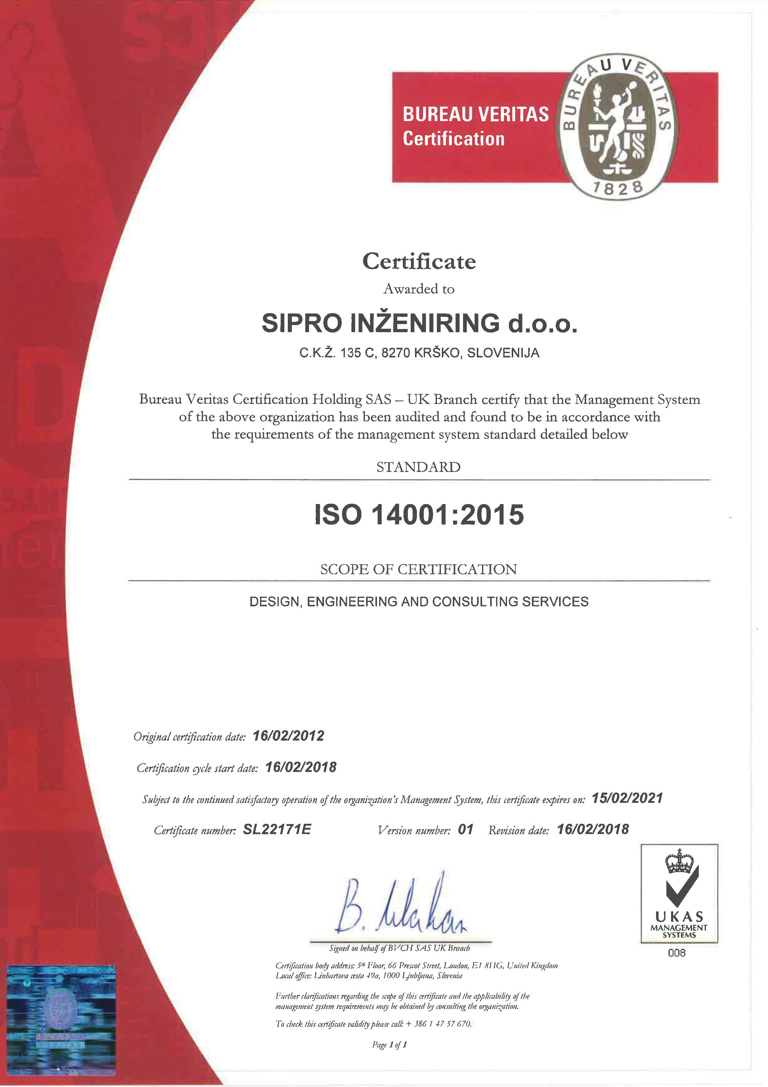 SIPRO INŽENIRING- 14001-2015 - ang